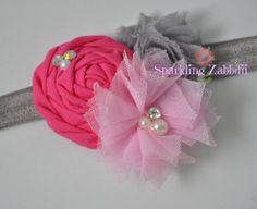 Pink and Gray headband,Gray headband,baby girl headband,hot pink headband,Newborn head band, Grey hairband,Pink bows, Toddler girl headbands