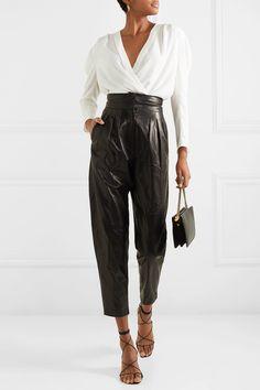 Fantastico IRO - Batcha wrap-effect chiffon blouse Incredibile Super IRO Look Fashion, Winter Fashion, Fashion Outfits, Womens Fashion, Leather Pants Outfit, Leather Trousers, Look Street Style, Givenchy, Ideias Fashion