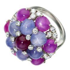 Juicy Delicious Gems! OSCAR HEYMAN Star Sapphire & Ruby Ring with Diamonds, Circa 1980's   USA