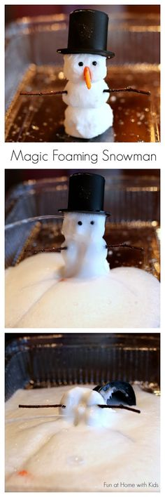 "New Recipe Foaming Dough you can use to make Magic Foaming Snowmen that ""melt"" into an icy puddle of frothy foam! Winter science experiments for kids! Preschool Science, Science For Kids, Science Activities, Science Projects, Science Experiments, Projects For Kids, Crafts For Kids, Preschool Winter, Science Ideas"