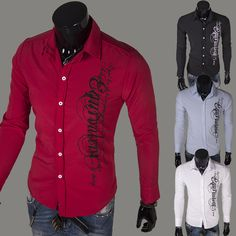 4aab204c2 Aliexpress.com : Buy 2014 Spring Fashion New Long Sleeve Shirts Men,English  Letter printed Casual Shirts,Korean Slim Design,4color Drop&Free Shipping  from ...