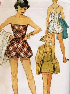 Vintage 1954 Simplicity 4715 UNCUT Sewing Pattern Junior's Playsuits and Coat Size 11 Bust 29