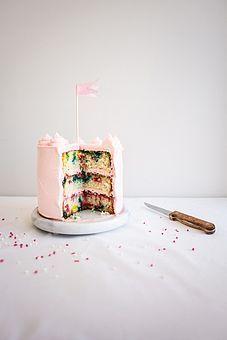 Roasted Strawberry and White Chocolate Rainbow Chip Cake