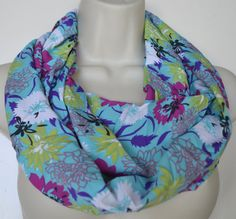 Blue floral infinity scarf infinity loop women by byJuliasDesigns