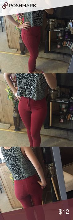 Red high waisted skinny jeans forever 21, size 24, very stretchy and soft. American Apparel Pants Skinny