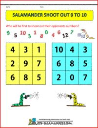 Salamander Shoot Out 0 to 10 - an addition math game to help children learn their number facts to 10