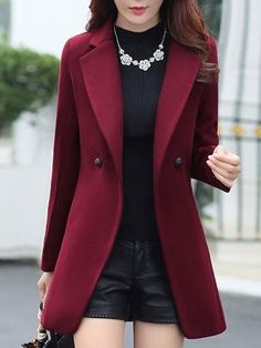 Women's Clothing,Coats & Jacket,Buttoned Work Long Sleeve Solid Lapel  Wool & Blend,JMDZ
