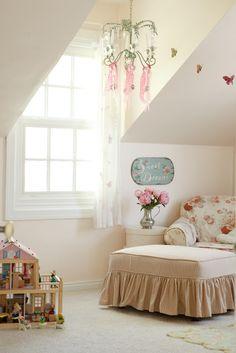 Pale pink wall color is Benjamin Moore Opal.