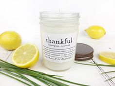 THANKFUL (lemongrass + rosewood) hand poured soy wax candle #ecofriendly #fulcandles