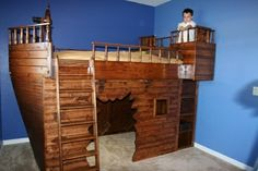 Priate loft bed with a play area below, love it!