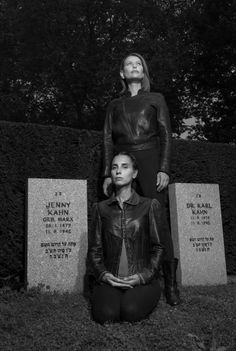 Karen Ardinast and Gabriela Goldberg in the New Jewish Cemetery in Frankfurt am Main. Approximately 800 Jews preferred suicide rather than deportation. Usually suicides were buried in a rear corner of the Jewish cemetery. In Frankfurt, the tombs are found in the front part. Ardinast and Goldberg have lost much of their own families in the Holocaust. Ardinast's grandmother survived