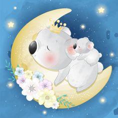 Cute little koala bear mother and baby Boat Cartoon, Cute Cartoon, Baby Animals, Cute Animals, Baby Raccoon, Little Panda, Baby Unicorn, Cute Elephant, Cute Illustration