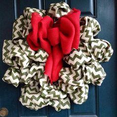 Burlap Chevron Holiday Wreath