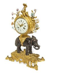 A fine and rare Louis XV porcelain, ormolu and patinated bronze elephant clock, mid 18th century