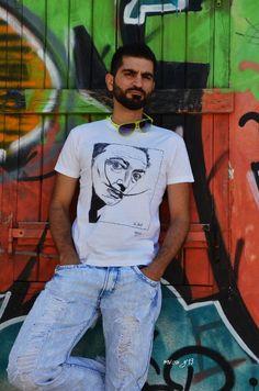 Hand Painted  t-shirt  Dali's portrait in by MrsDarksidesArtWork