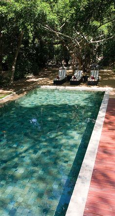 The stone-lined pool invites you to dive in and cool off from the tropical heat. #Indistay | The Wallawwa, Sri Lanka
