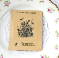 These are great place name settings that also double up as wedding favours - saving on costs! The seed packet is made from 80% recycled paper and measures 9.7 x 12.5 cm. The seeds inside are British-grown British wildflower seeds that bees love! Seeds include Red Campion, Selfheal and White Clover - they are also perennials so will flower year after year. <br%2...