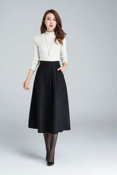 midi skirt, A line skirt, wool skirt, ladies skirt, black winter skirt, womens skirts, fitted skirt, high waisted skirt, Mod clothing 1636