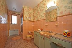 Vintage bathroom in peach and tan... home located at Grosse Point Park, MI