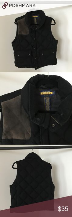 Ralph Lauren Women's Black Puffer Vest Rugby by Ralph Lauren black puffer vest with brown suede patch. Perfect for transition from fall to winter! Puffy material is warm and comfortable while fit remains thin and flattering. Zipper and button closure. Excellent condition. Ralph Lauren Jackets & Coats Vests