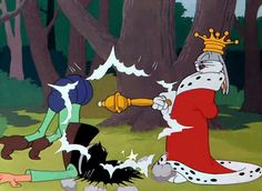 Saturday morning cartoons...Bugs Bunny. One of the best scenes and I quote it often. Arise Sir Loin of Beef!