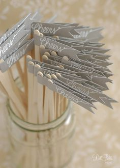 gray paper flag stir sticks - #dillpicklepicnic #etsy i kind of love these. maybe at the shower or possibly even at the wedding.