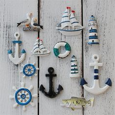 Buy Mediterranean Style Resin Starfish Sailboat Lighthouse Helmsman Anchor Sea Bird Swim Ring Decorative Wall Stickers Ornaments Accessories Photography Props Decoration at Wish - Shopping Made Fun Calin Gif, Ceramic Flower Pots, Wall Decor Stickers, Seashell Crafts, Mediterranean Style, Resin Crafts, Diy Craft Projects, Clay Art, Ceramic Art