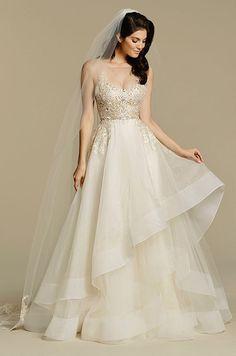 Tara Keely A line wedding dress with illusion neckline. See photos of Tara Keely's Fall 2016 wedding dress collection.