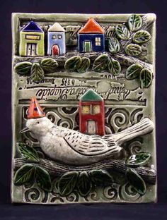 Ceramic Bird with Houses, by TilebyFire