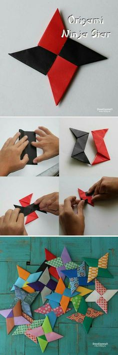 Paper folding Ninja Stars is such a fun activity for kids! You will need 2 sheets of Origami Paper Or 2 squares of lightweight… Origami Paper Folding, Origami And Kirigami, Origami Butterfly, Origami Flowers, Origami Art, Origami Bookmark, Oragami, Diy Paper, Paper Crafting