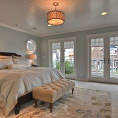 Silver Sage - Restoration Hardware Paint. Gorgeous bedroom.