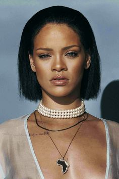 Rihanna wearing a vintage pearl choker and Rosamosario gown in her Needed Me video women's jewelry - http://amzn.to/2ifFQiC
