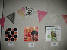 My 50th Birthday Party: an album a year! That's a *lot* of vinyl. (Album art & craft paper pennants)