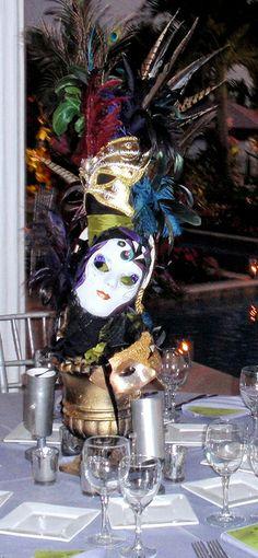Handmade Venetian Masquarade centerpieces for Venetial Carnival party, Mardi Gras by Rosanna Hope Masquerade Ball Party, Sweet 16 Masquerade, Masquerade Wedding, Masquerade Theme, Halloween Masquerade, Venetian Masquerade, Masquerade Centerpieces, Party Deco, Carnival Decorations