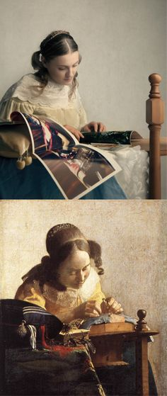 "The Interpretation: Jan Vermeer's ""The Lacemaker."" Remake by Halina Garycka"