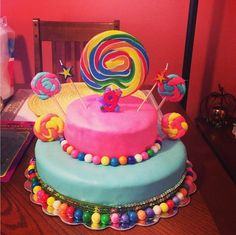 Gumball and lollipop candy land cake!