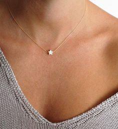 Small Star Necklace Tiny Pearl Star Necklace Everyday by MinimalVS