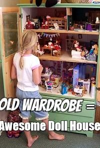 Turn old wardrobe or TV cabinet into an AWESOME doll house.