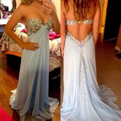 dress prom dress sherri hill, prom dress, short dress, light blue, lace rhinestones long prom dresses