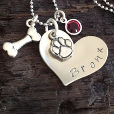 Personalized Pet Necklace Pet Jewelry Dog by InspiredByBronx, $25.00 Love it!!! It's beautiful