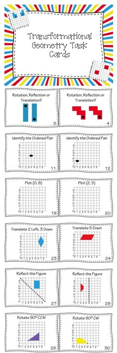 Use this set of 40 Task Cards to help your students review Translations, Rotations and Reflections in the First Quadrant of the Cartesian Plane. Students will identify Transformations, practice reading and drawing Ordered Pairs along with drawing and describing Transformations.  Includes Recording Sheet and Answer Key.