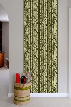 interesting.  removable wallcovering. Trees ~ Pattern Wall Tiles
