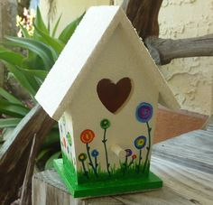 Magical Flowers Hand Painted Birdhouse by HippieNeaner on Etsy, $25.00