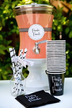 """""""Panda Punch"""" station from a chic Party Like a Panda Birthday Party at Kara's Party Ideas. See this monochromatic party and more at karaspartyideas.com!"""
