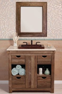 """All Bathroom Vanities & Cabinets - All Traditional Vanities & Cabinets - 36"""" - 47"""" Wide Vanities - 36"""" Native Trails Chardonnay Vanity Base with Optional Sink Tops - Handmade with Reclaimed Woods VNW361 - VNW361"""
