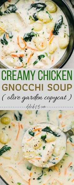 Canned Chicken, Creamy Chicken, How To Cook Chicken, Chicken Gnocchi Soup, Garlic Parmesan Chicken, Lemon Vinaigrette, Chopped Spinach, Spinach Leaves, Shredded Carrot