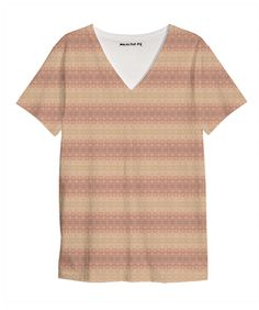 Muted Pastel V Neck Shirt. $44. 100% cotton jersey /// intricate, stripes, multicolor, pattern, bohemian