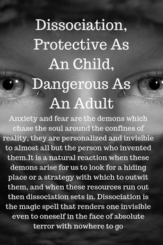 Anxiety and fear are the demons which chase the soul around the confines of reality, they are personalized and invisible to almost all but the person who invented them. It is a natural reaction when these demons arise for us to look for a hiding place or Disassociative Identity Disorder, Psychology Quotes, Psychology Careers, Psychology Meaning, Psychology Experiments, Behavioral Psychology, Personality Disorder, Angst, Inner Child