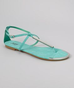 Look what I found on #zulily! Mint Green & Gold Bar Sandal by 385 Fifth #zulilyfinds
