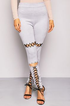 Grey Eyelet Faux Suede Lace Up Treggings - Leggings - Clothing  | LASULA